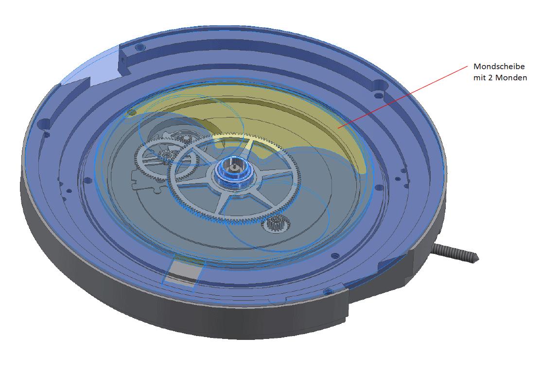 Zentrales Mondrad des MeisterSinger Stratoscope mit der großen Mondscheibe mit zwei gegenüber liegenden Monden