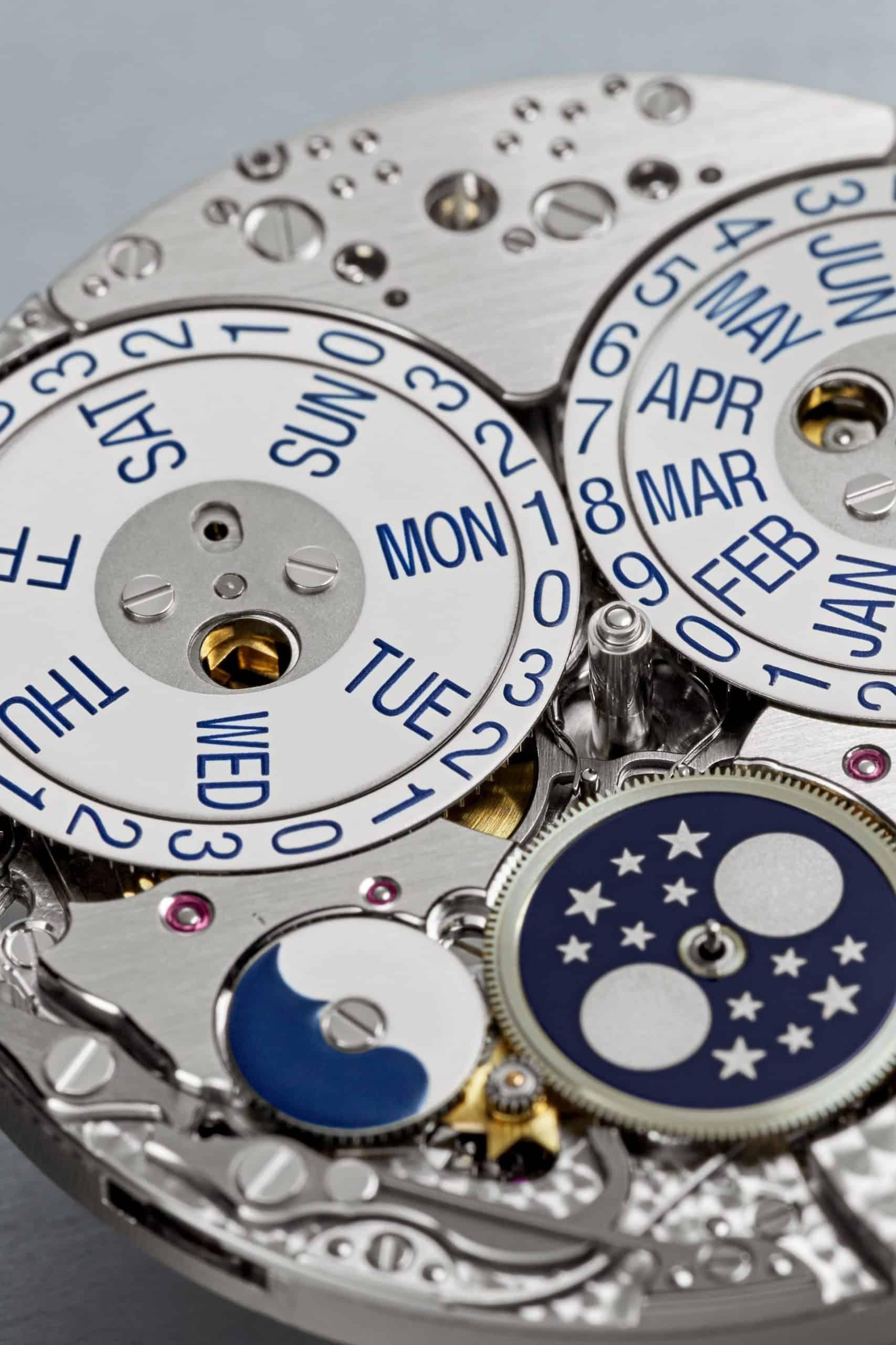 Mondphasen und Tag-Nachtanzeige des Patek Philippe Kalibers 31-260 PS QL