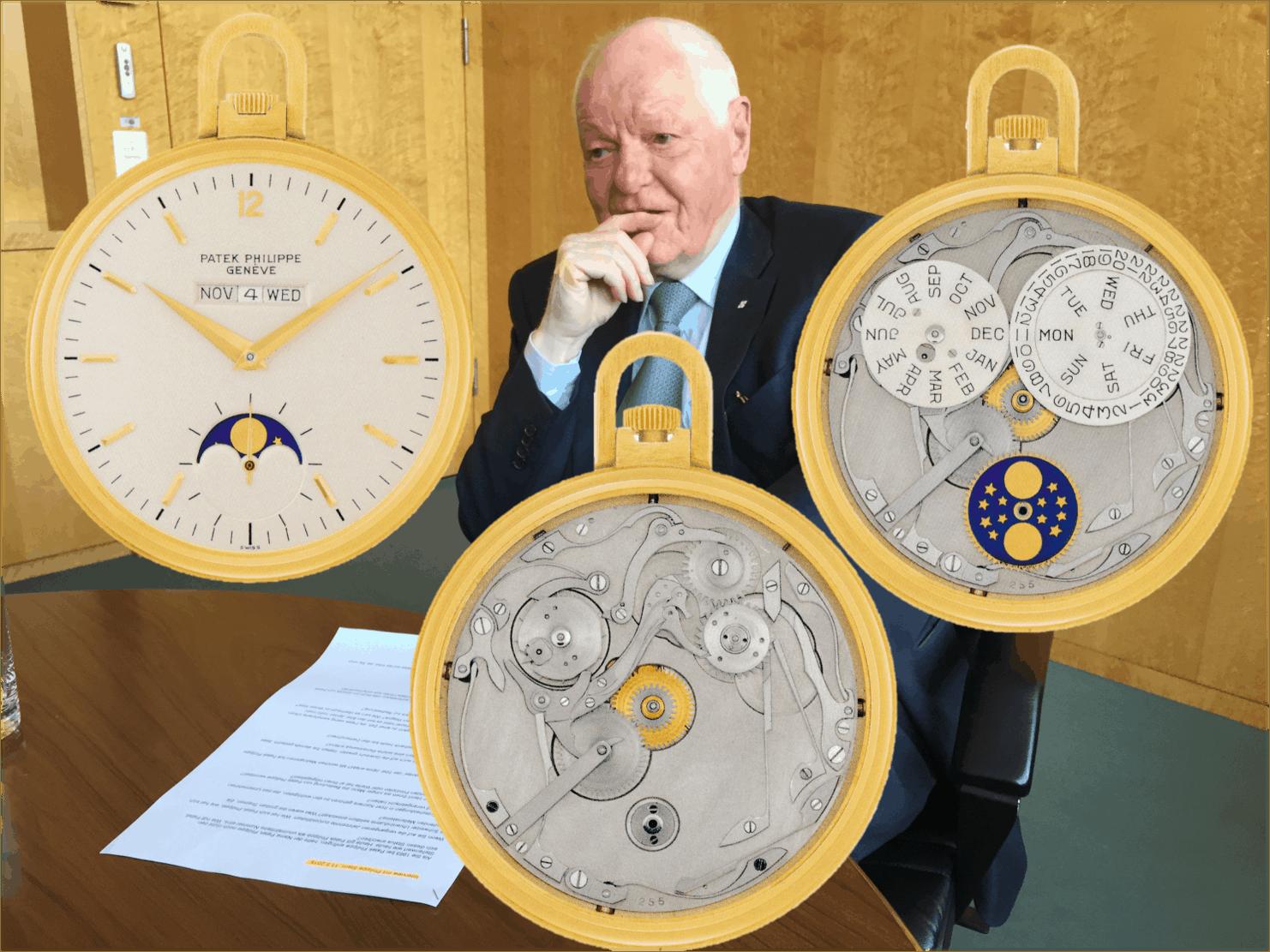 Philippe Stern Patek Philippe Taschenuhr ewiger Kalender linear Mondphasen Nr 931255 1972