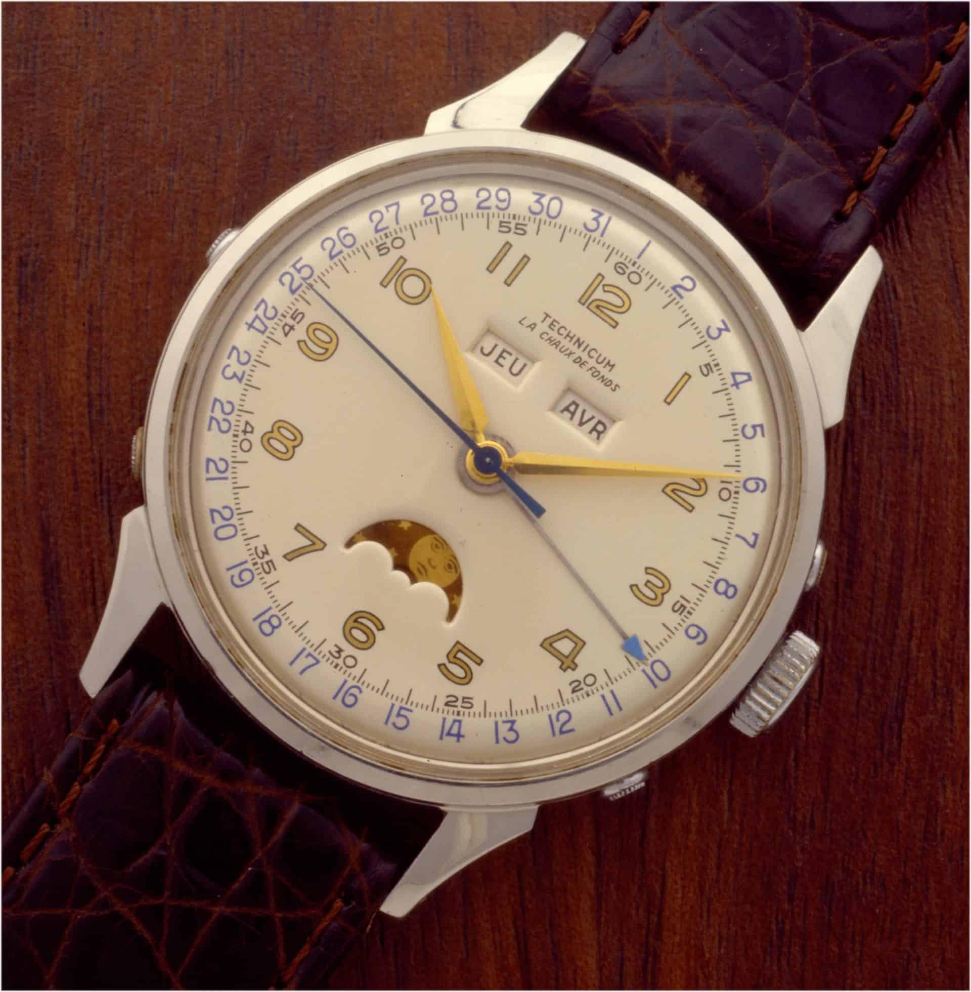 Schuluhr mit Mondphasenindikation Technicum Le Locle 1959 Kaliber Felsa 693