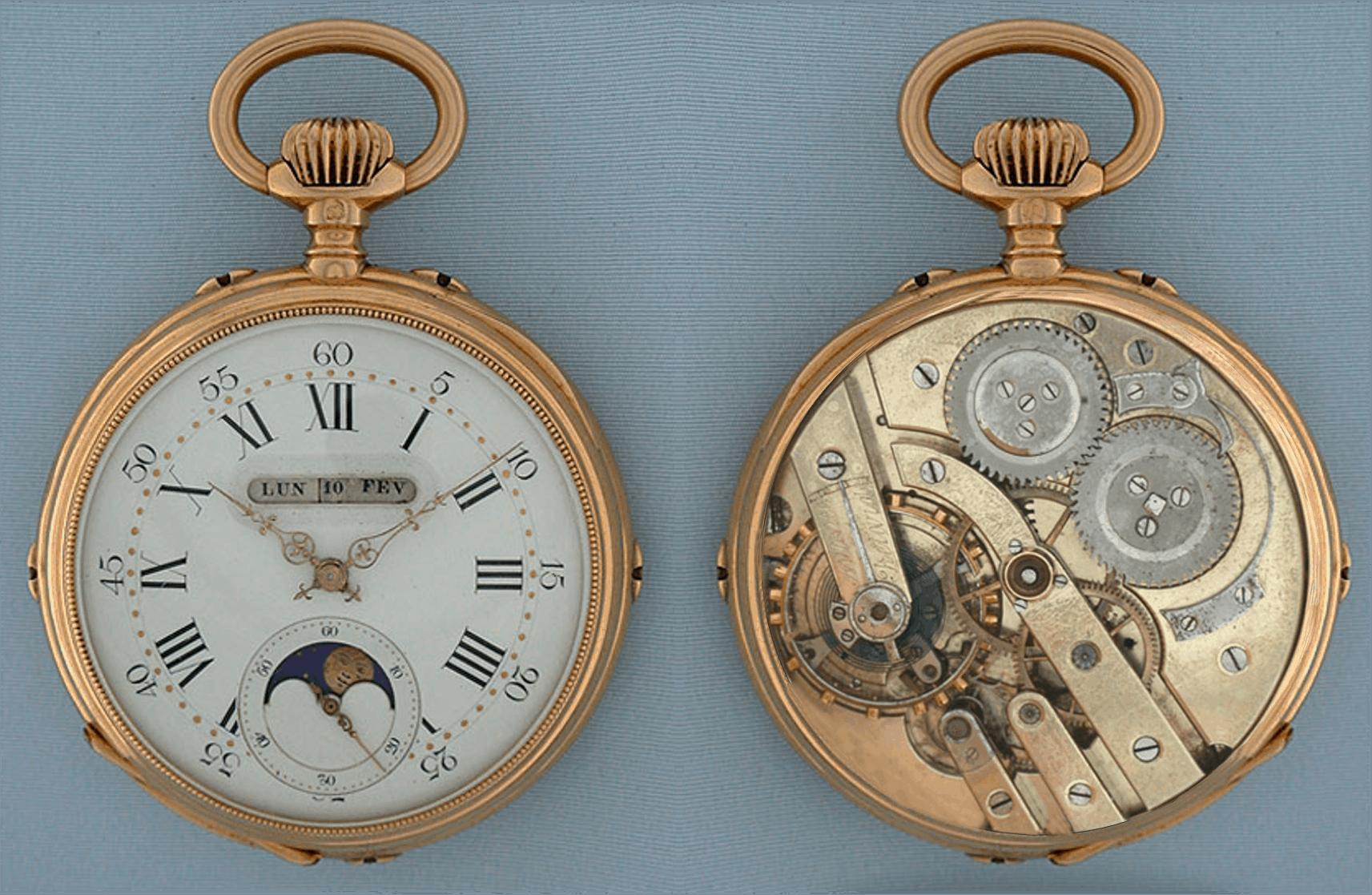 Taschenuhr linearer Vollkalender Mondphasen LeCoultre-Kaliber ca 1890