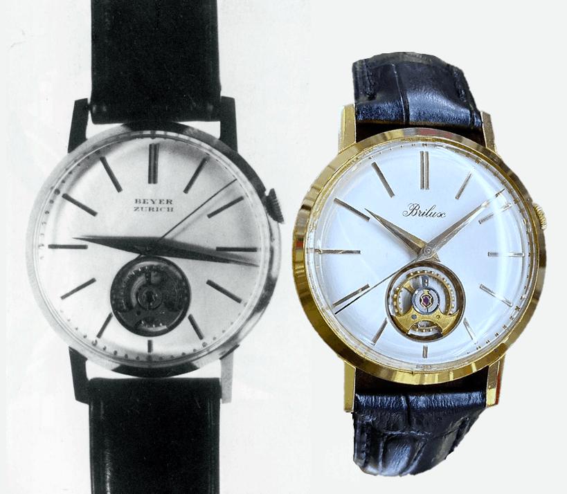 Luxor Armbanduhr, Handaufzug und sichtbare Unruh, Referenz 572, Versionen Beyer Zürich und Brilux, ca. 1965