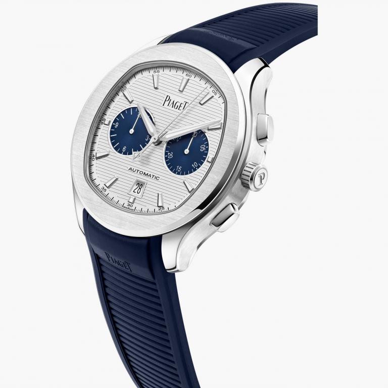 Piaget Polo Panda-Chronograph mit guillochiertem Zifferblatt und blauen Totalisatoren