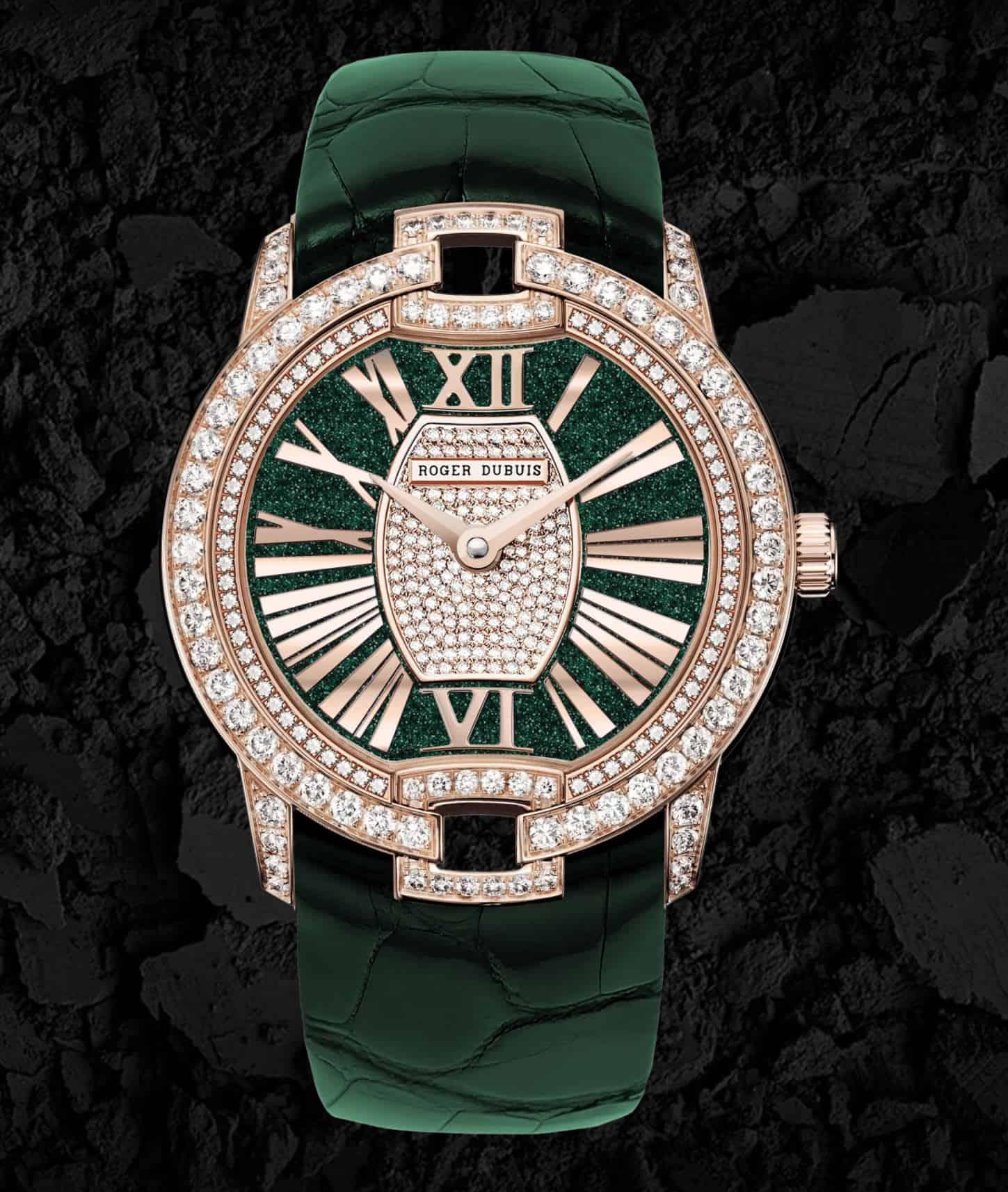 Roger Dubuis Velvet Pink Gold mit grünem Armband Preis 60 850 Euro