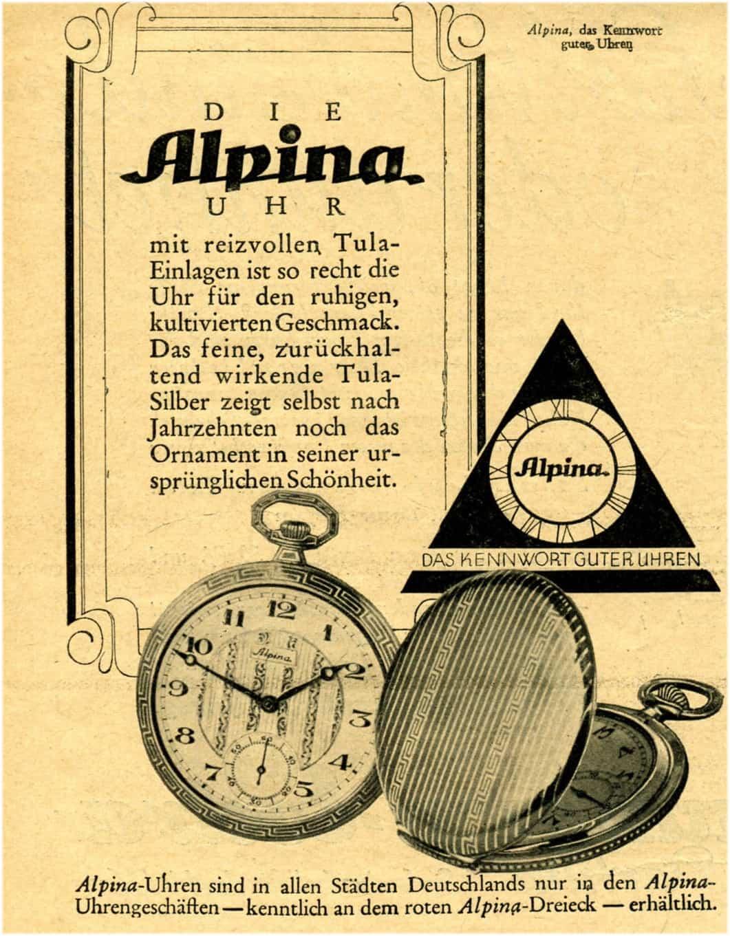 Alpina Anzeige aus den Zwanzigerjahren des letzten Jahrhundert