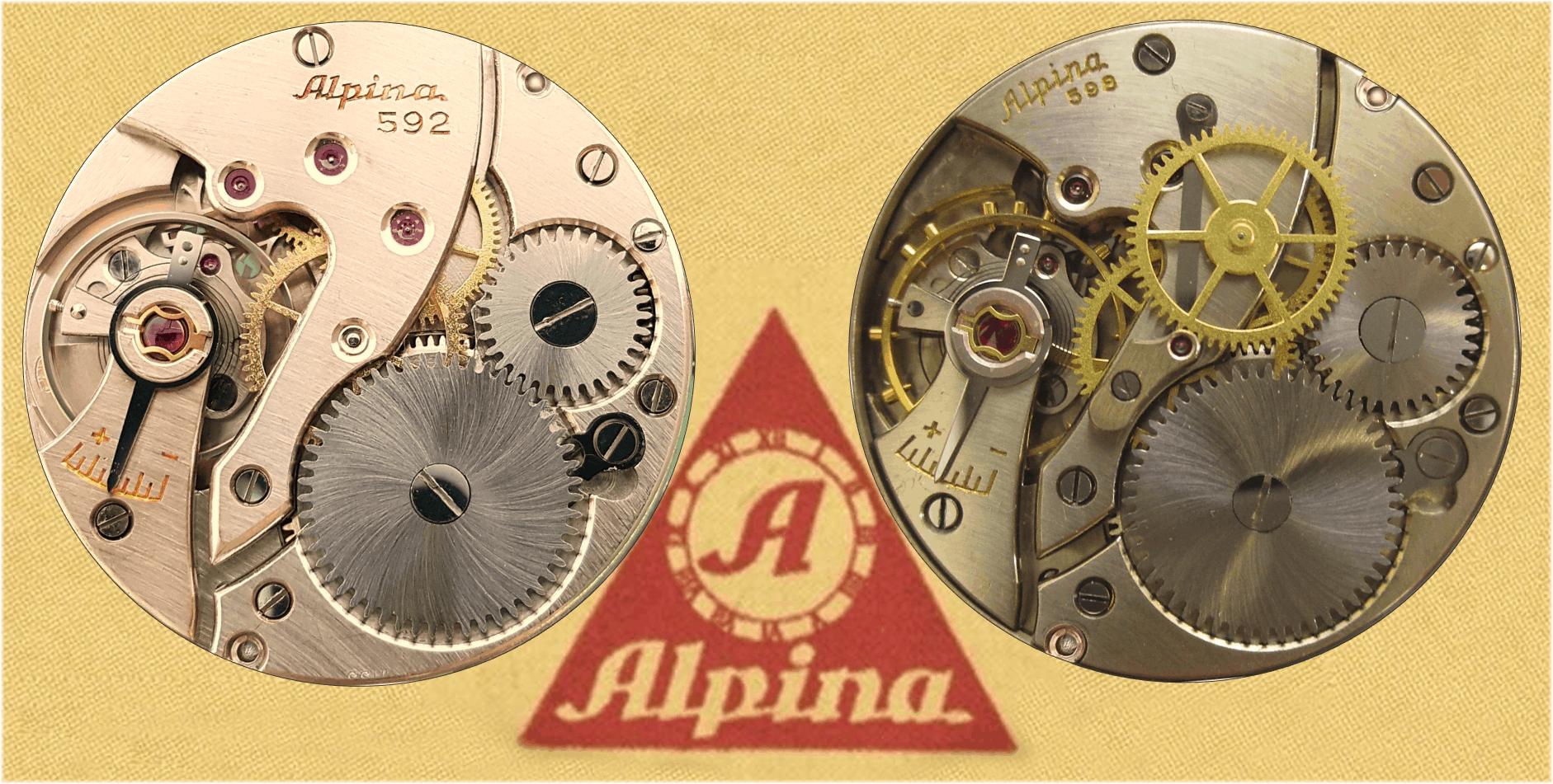 Alpina mit dem Handaufzugskaliber 592 sowie dem Modell Alpina 598