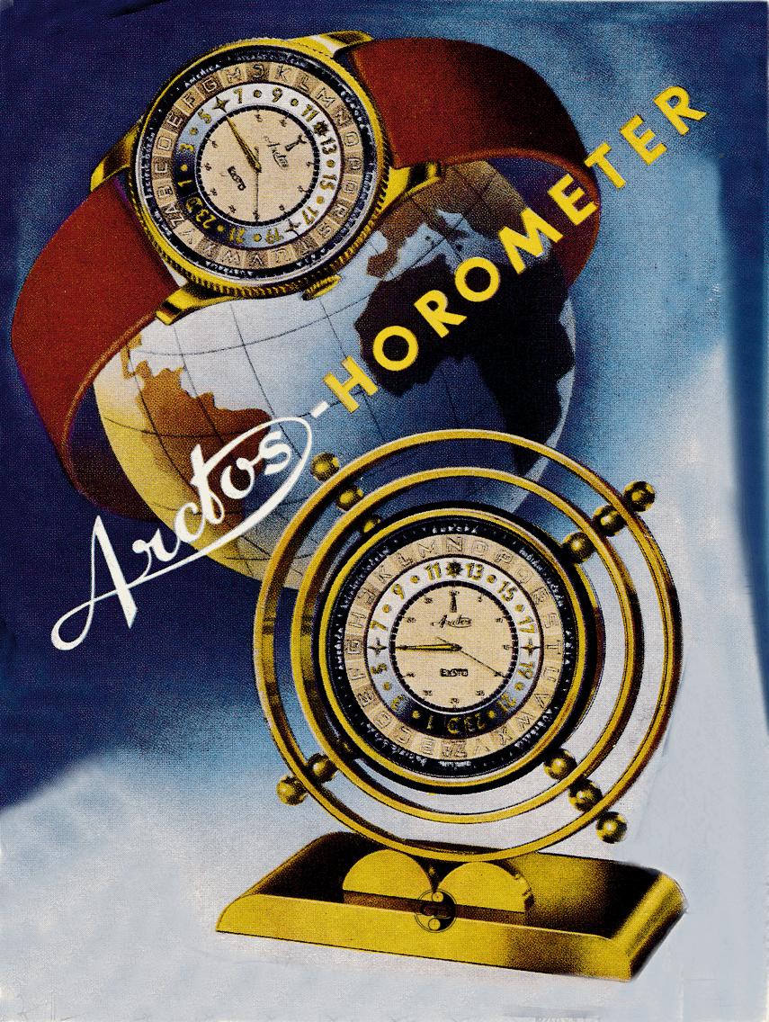 Prospekt des Arctos Horometer und der Arctos Horometer Pendule Uhr