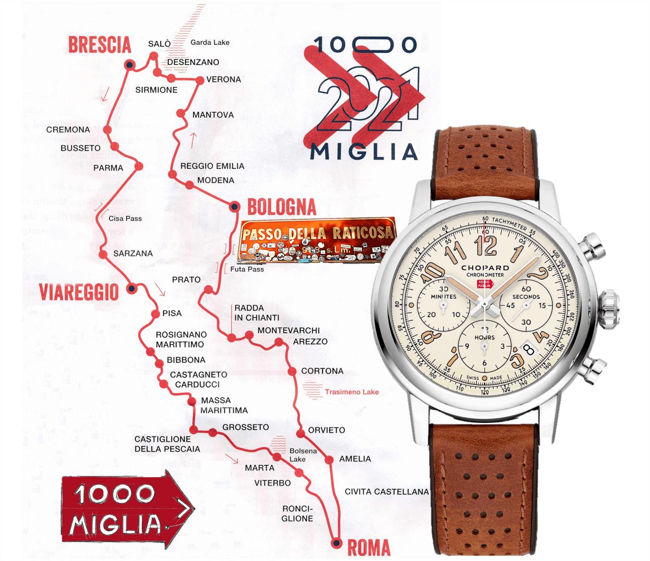Landkarte der Mille Miglia 2021 und der Chopard Mille Miglia Classic Chronograph Raticosa