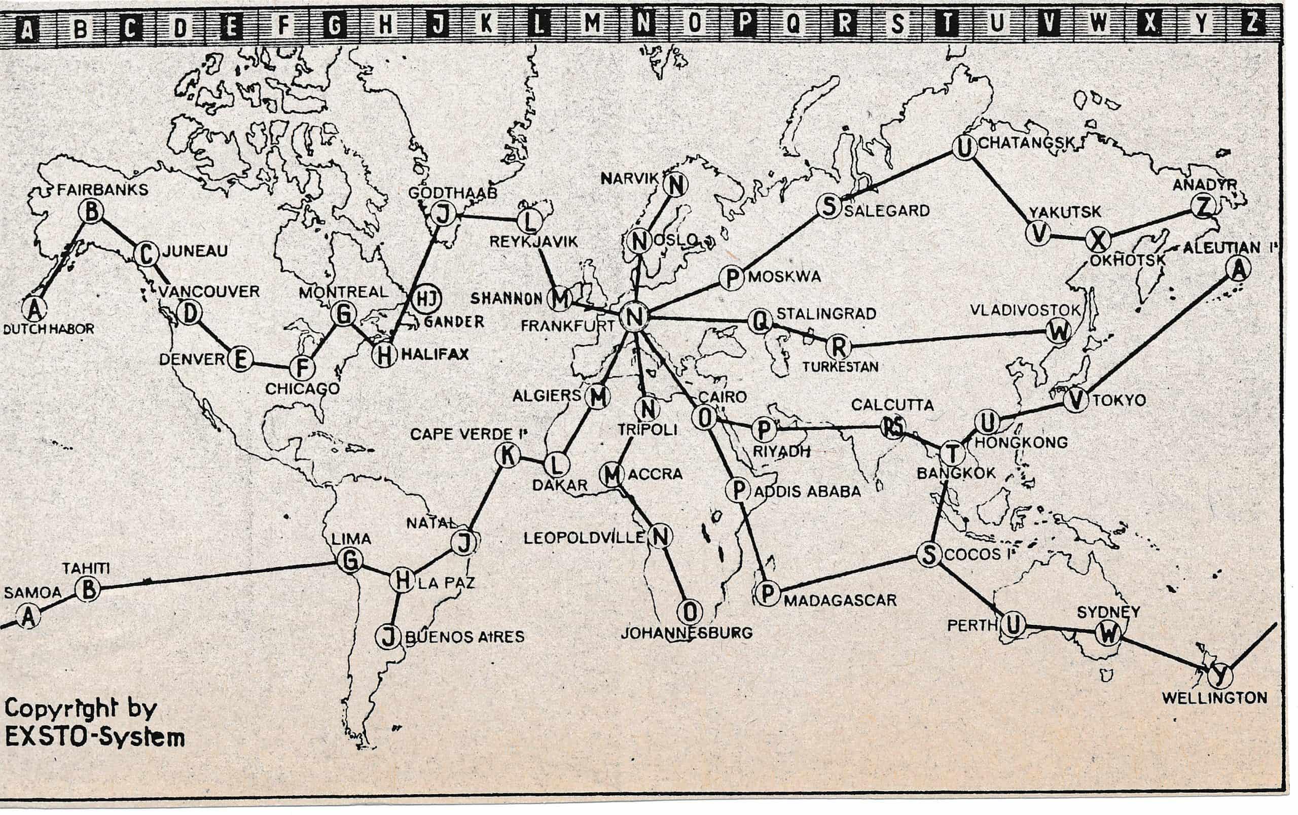 EXSTO Weltzeitkarte