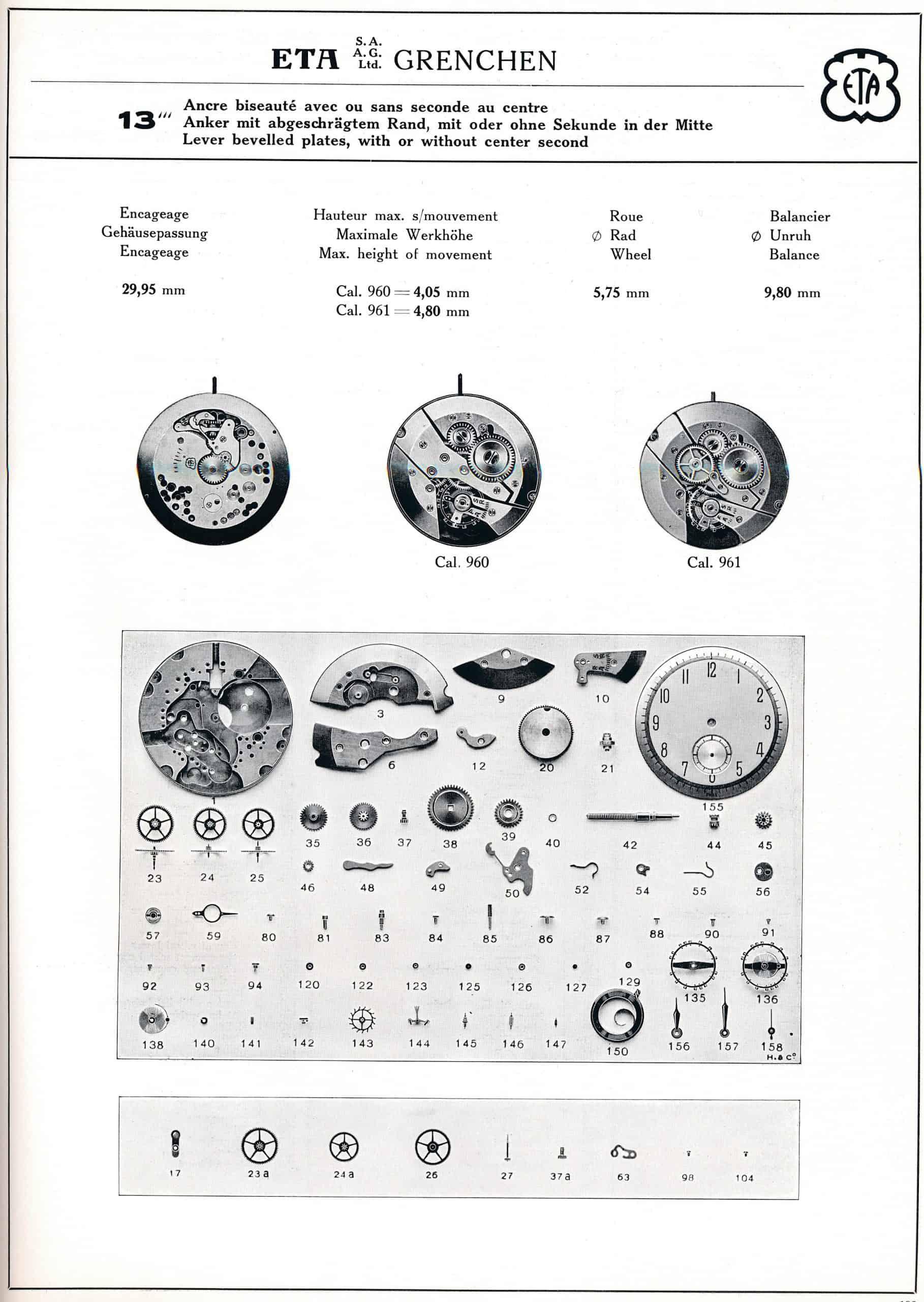 Eta Handaufzugskaliber 960 - 961 kleine oder zentrale Sekunde aus dem Jahr 1942