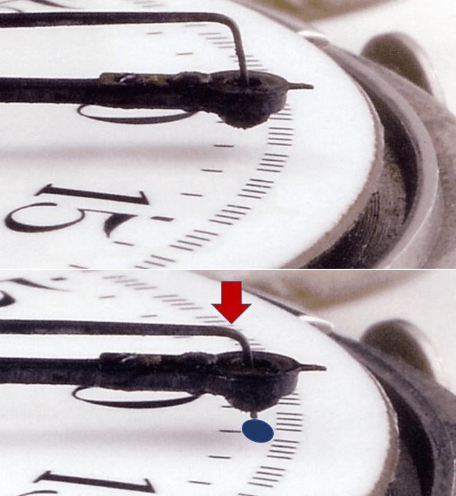 Funktionsweise eines Tinten-Chronographen mit rotierenden, tintengefüllten Zeigern