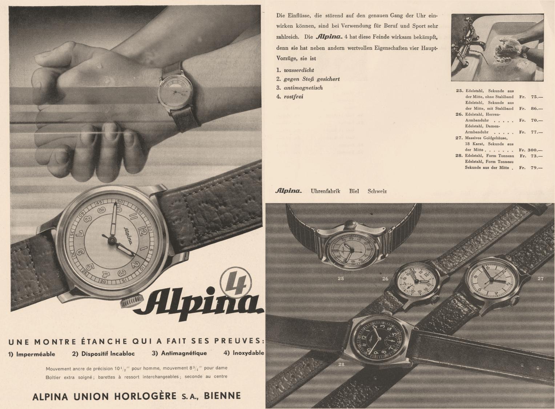 Alpina Katalog aus dem Jahr 1938 mit der ersten Alpina 4 Uhr