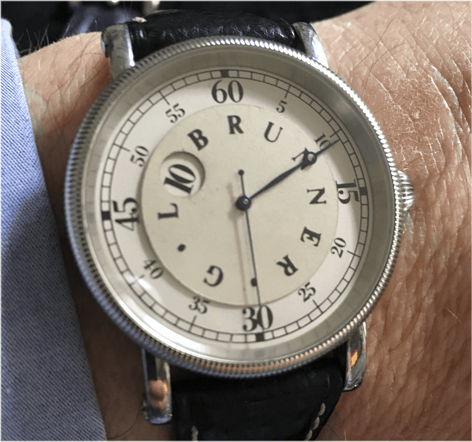 Leonardo Spinelli Armbanduhr mit springender Stundenanzeige G. L. Brunner