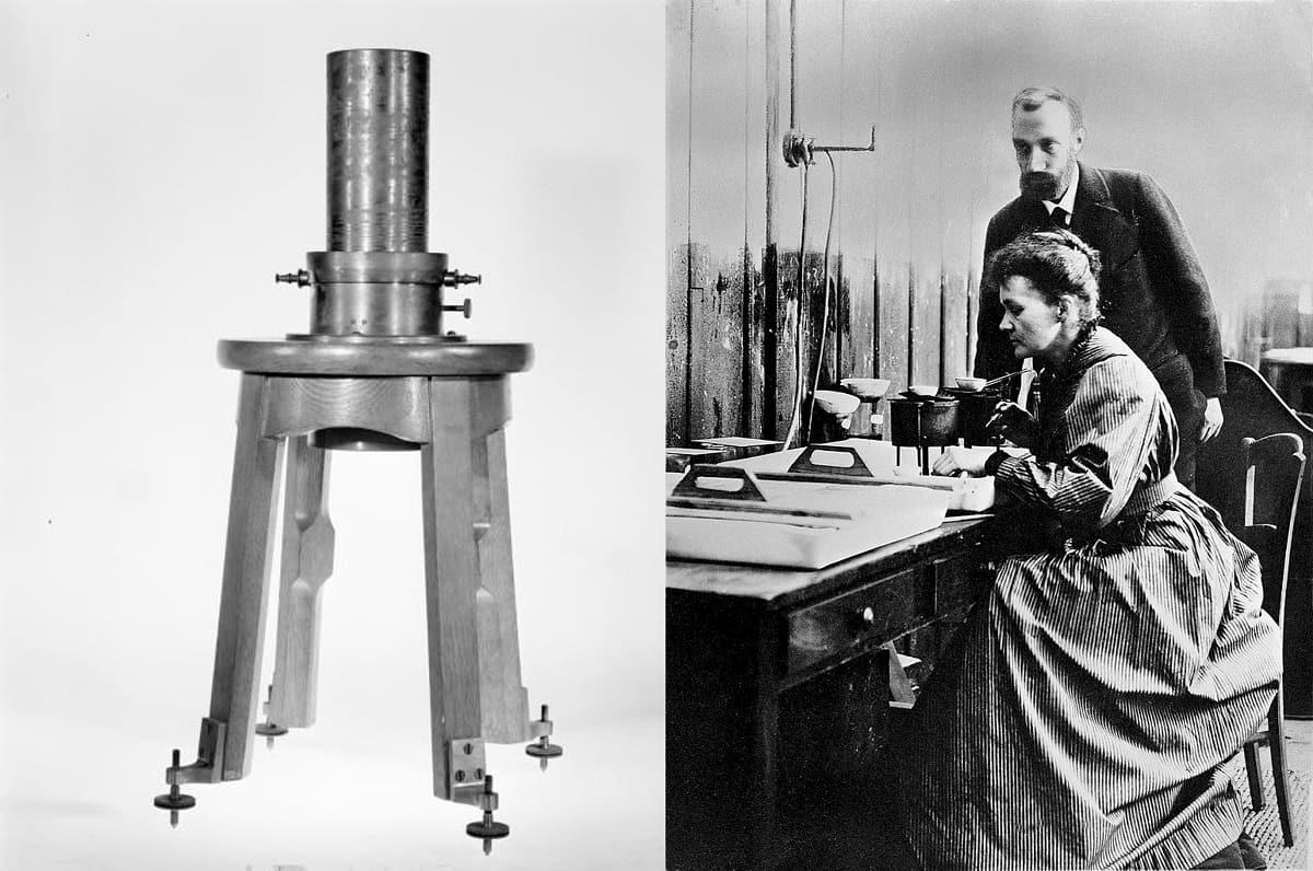 Marie und Pierre Curie mit Piezo-elektrischem Versuchsgerät