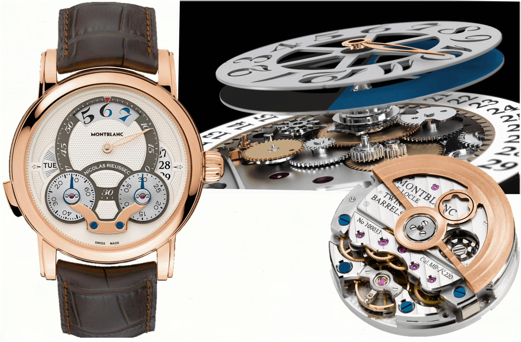 Montblanc Nicolas Rieussec Chronograph Rising Hours Kaliber MB R220 Rotgold
