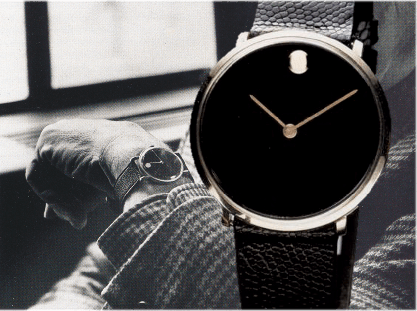 Nathan G. Horwitt mit Movado Museum Watch von 1960