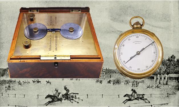 Rieussec Tintenchronograph:  Der Chronograph schrumpft und markiert mit rotierenden Zeigern