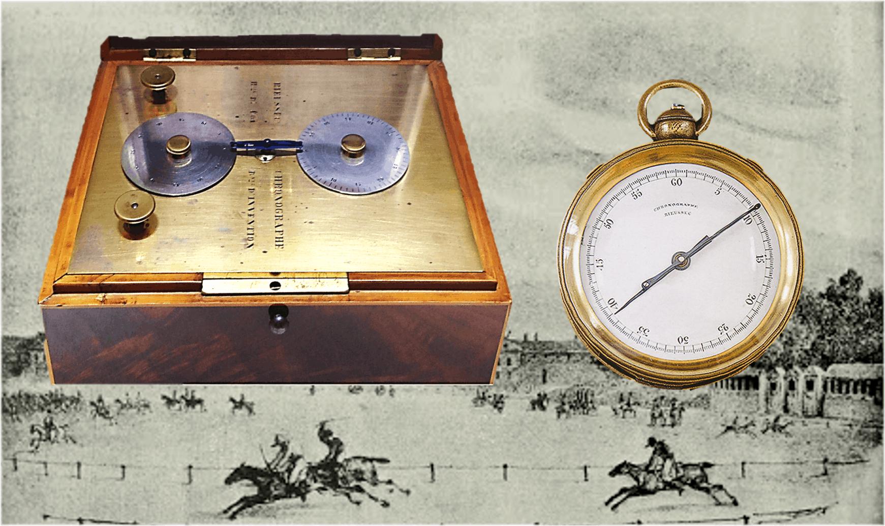 Tintenchronograph in TaschenuhrgrößeRieussec Tintenchronograph:  Der Chronograph schrumpft und markiert mit rotierenden Zeigern