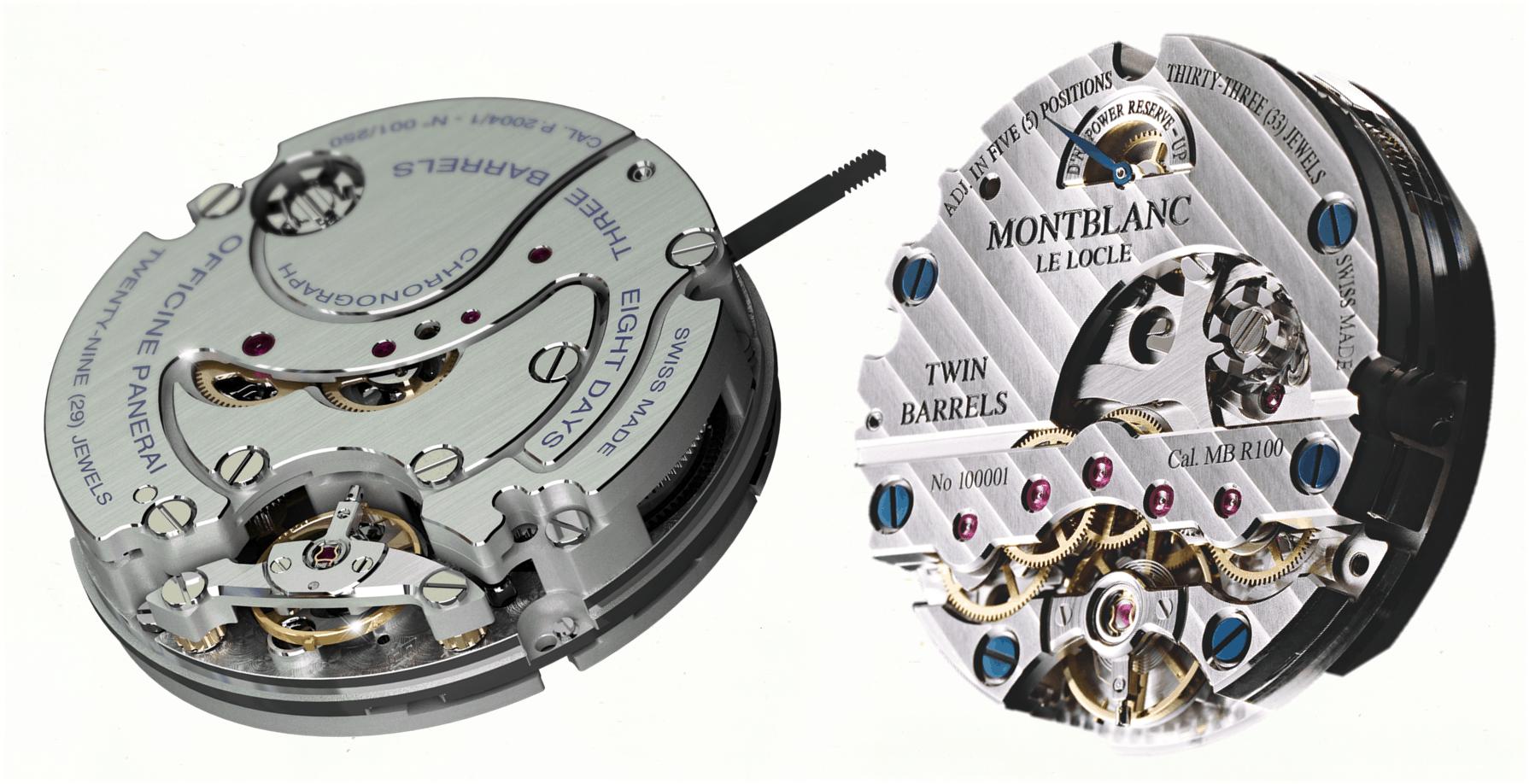 Panerai Handaufzugskaliber P.2004 und Montblanc MB R100
