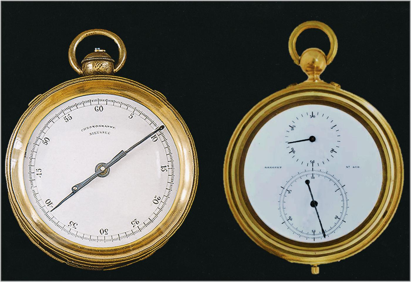 Taschenuhren mit Tintenschreiber-Chronograph von Rieussec (links) und Breguet (rechts)