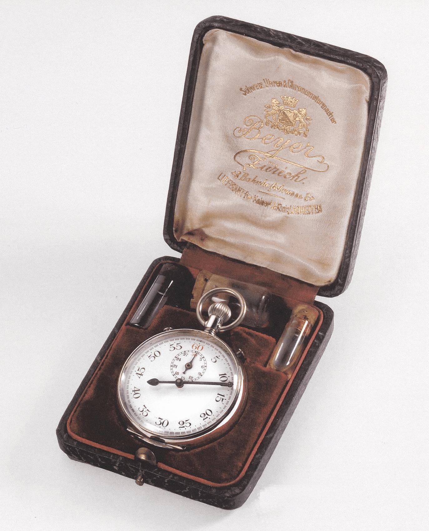 Tintenschreiber Chronographenfunktion einer Taschenuhr von Beyer von 1875