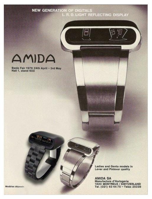 Digitrend Uhr mit digitaler Zeitanzeige von Amida aus dem Jahr 1976