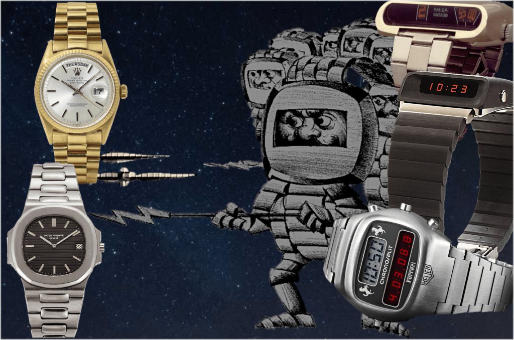 Digitale versus analoge Zeitanzeige 1976 C GLB Uhrenkosmos