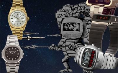Vintage Uhren mit Digitaler ZeitanzeigeAmida Digitrend, Girard-Perregaux Casquette, Heuer Chronosplit: 1976 waren Digitaluhren Trumpf