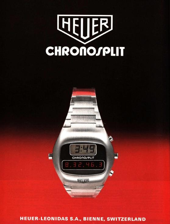 Anzeige für die Heuer Chronosplit von 1976