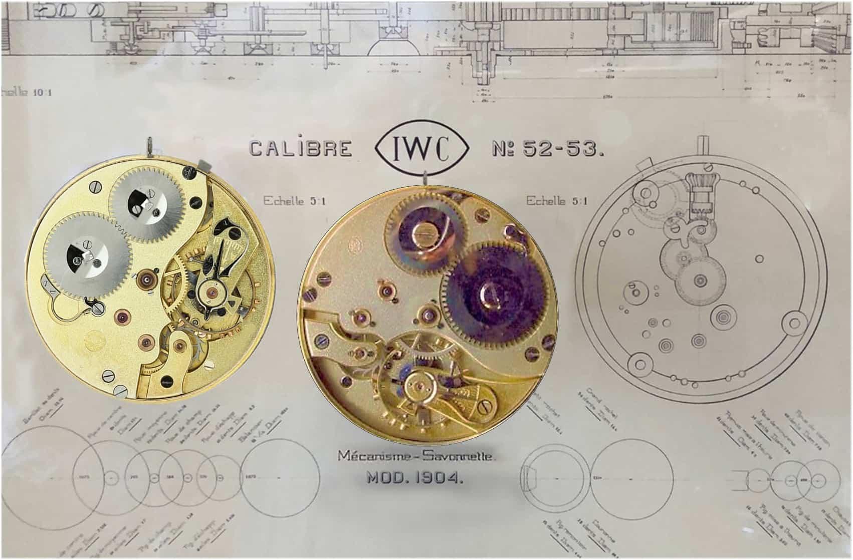 Die Versionen für offene Taschenuhren und Savonnettes mit Sprungdeckel: IWC Kaliber 52 und 53