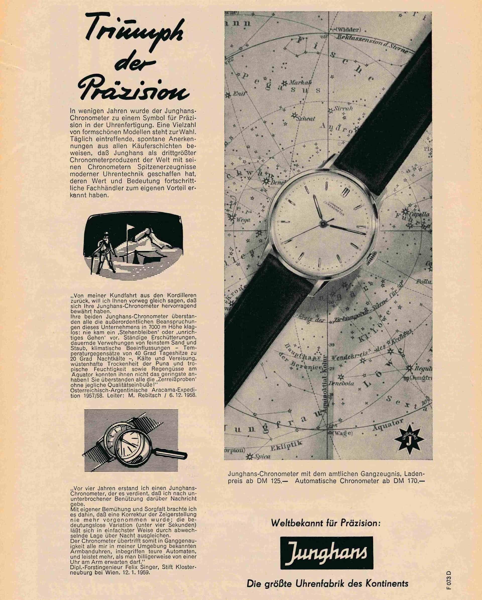 Junghans Inserat für einen präzisen Chronometer aus dem Jahr 1959