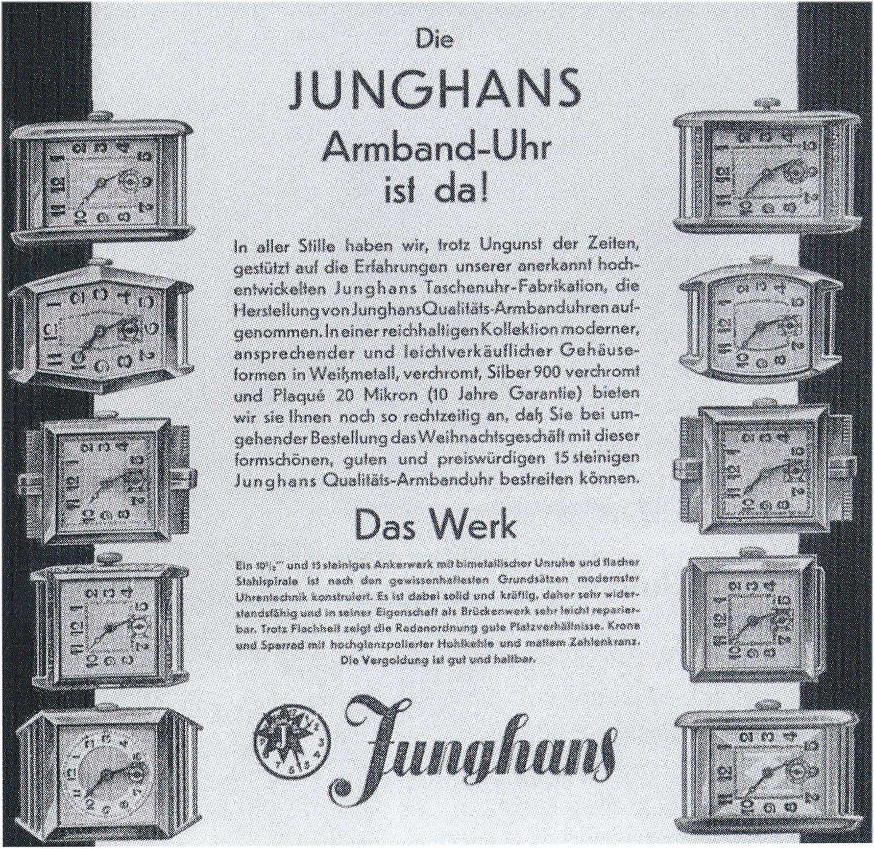 Junghans Inserat für eine Junghans Armbanduhr um 1930