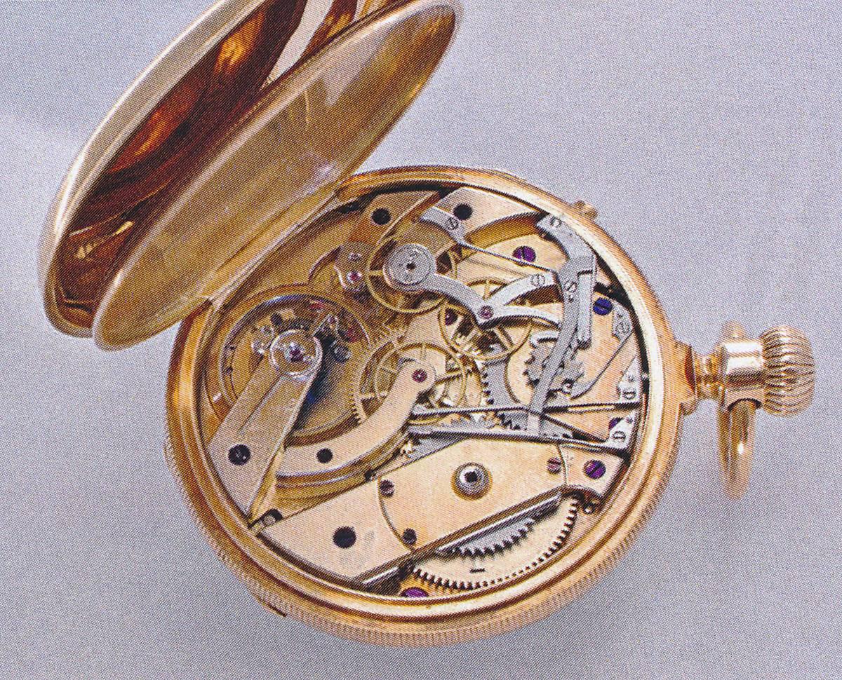 Nullstell Chronograph um 1880 Schaltwerk rueckseitig C Gerd Ruediger Lang