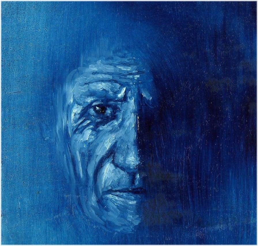 Portät von Pablo Picasso in seiner Periodo Blu