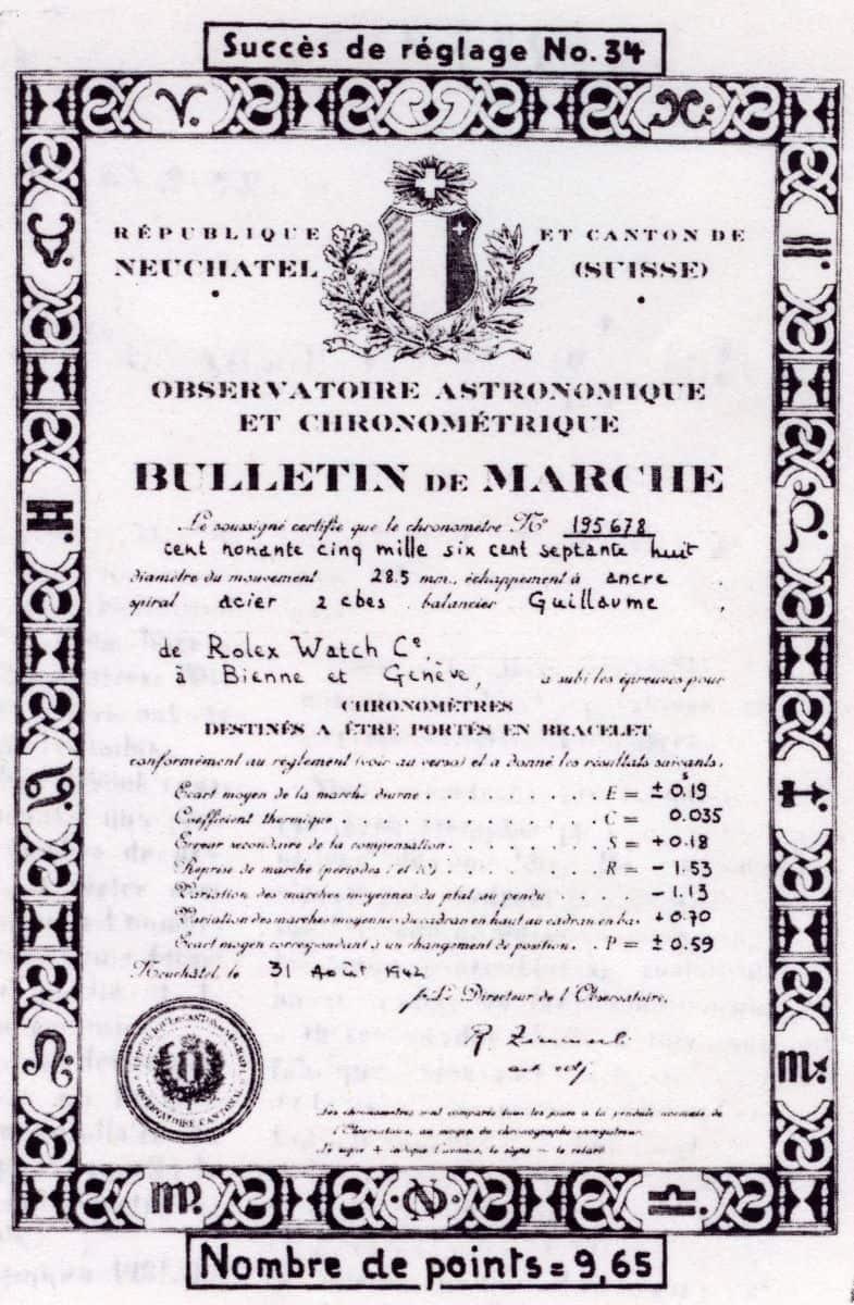 Rolex Chronometer Zertifikat Neuchatel von 1942