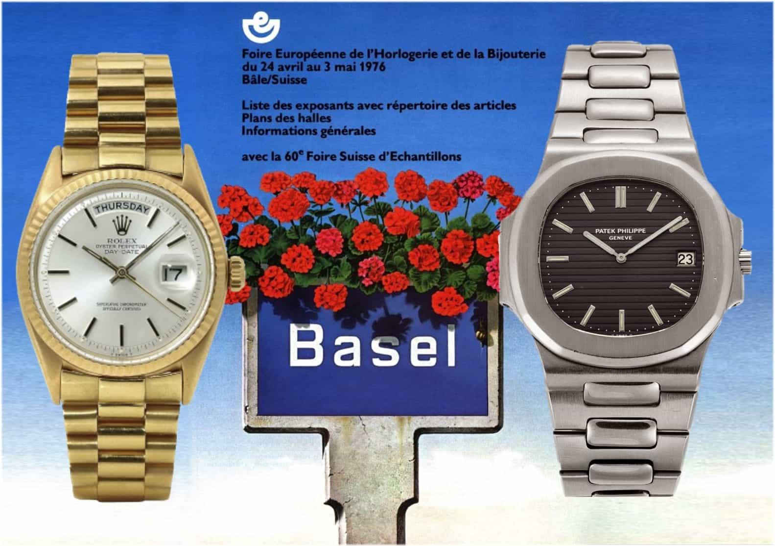 Rolex Day-Date und Patek Philippe Nautilus die im Jahr 1976 vorgestellt wurden