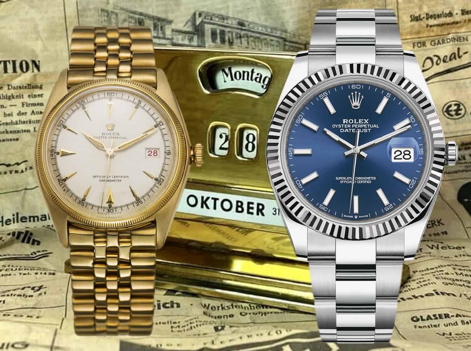 Rolex Oyster Perpetual Datejust Ref. 4467 von 1945 und Rolex Datejust von 2021 mit Tischkalender