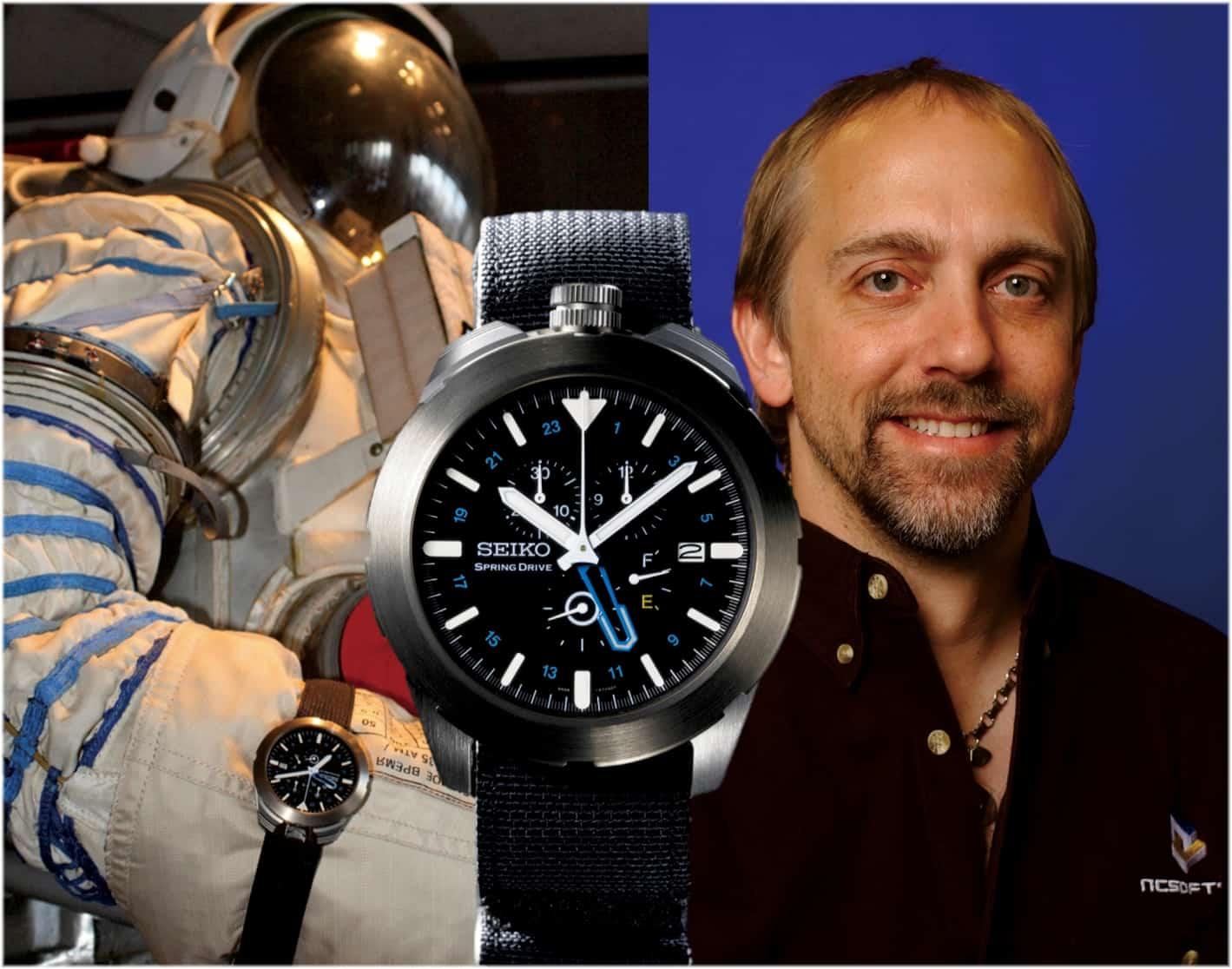 Seiko Spring Drive Spacewalk mit dem Uhrenträger Richard Garriot in 2008