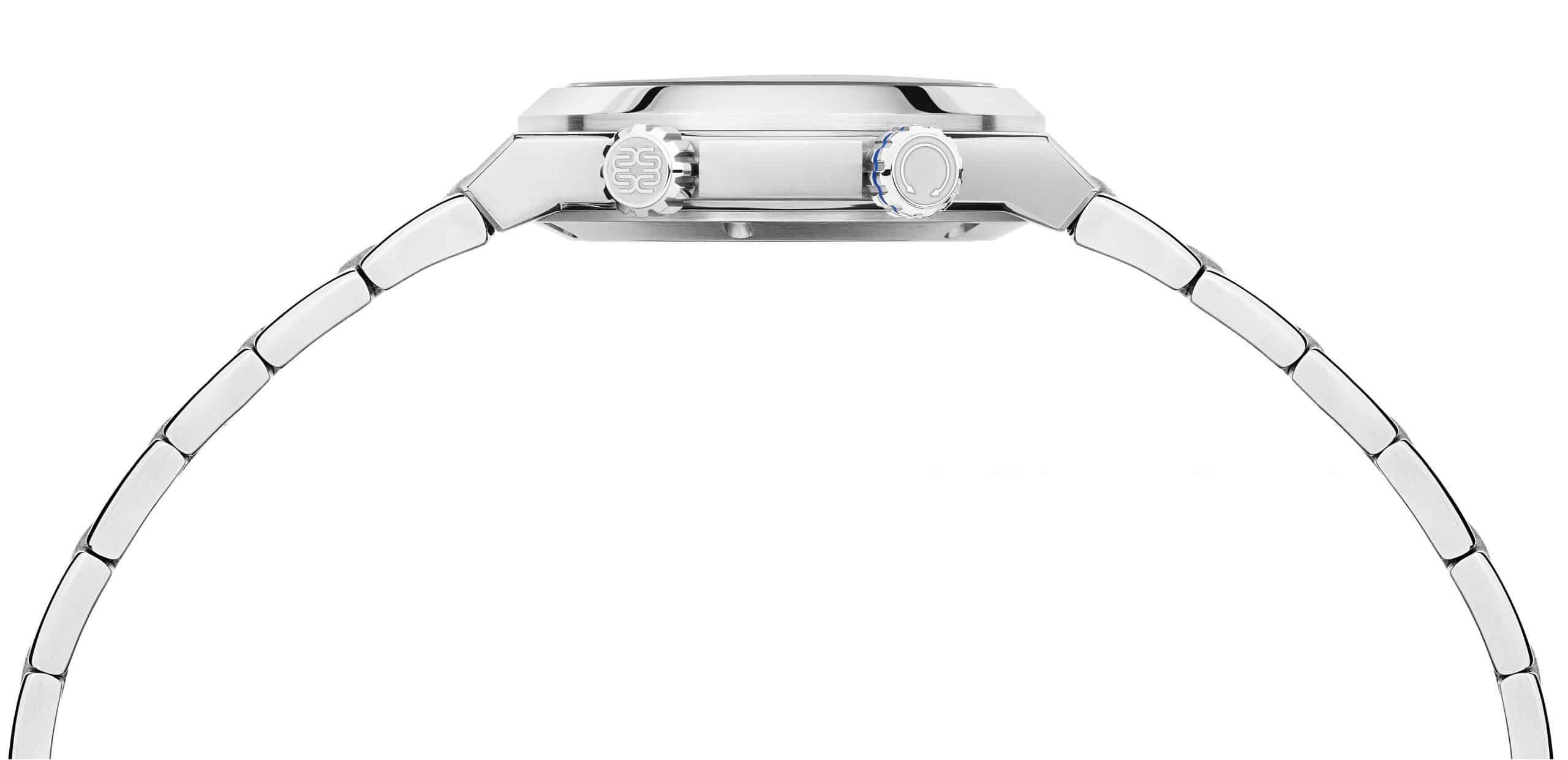 Die recht flache Höhe der Wempe Gezeitenuhr liegt am nur 3,6 mm hoch bauenden Automatikkaliber Sellita SW300-1.