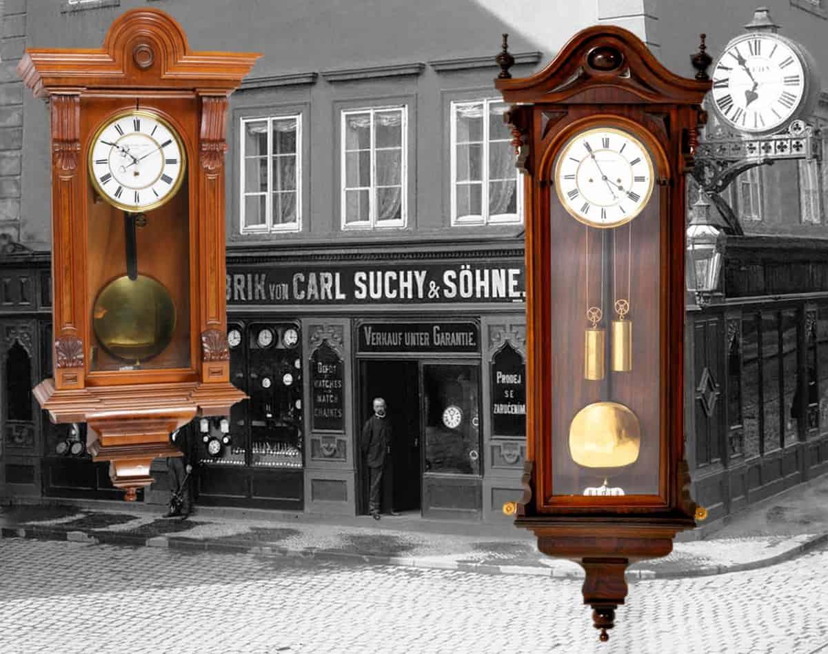 Historische Regulator Wanduhren von Carl Suchy & Söhne