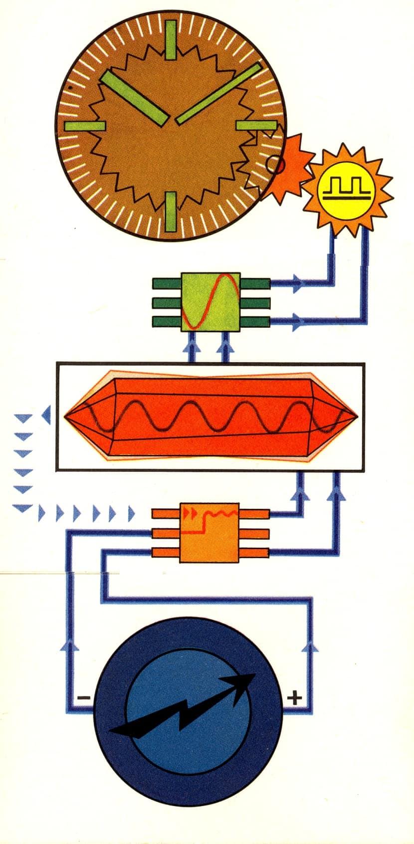 Das Schaubild und Funktionsschema eines analogen Quarzwerks