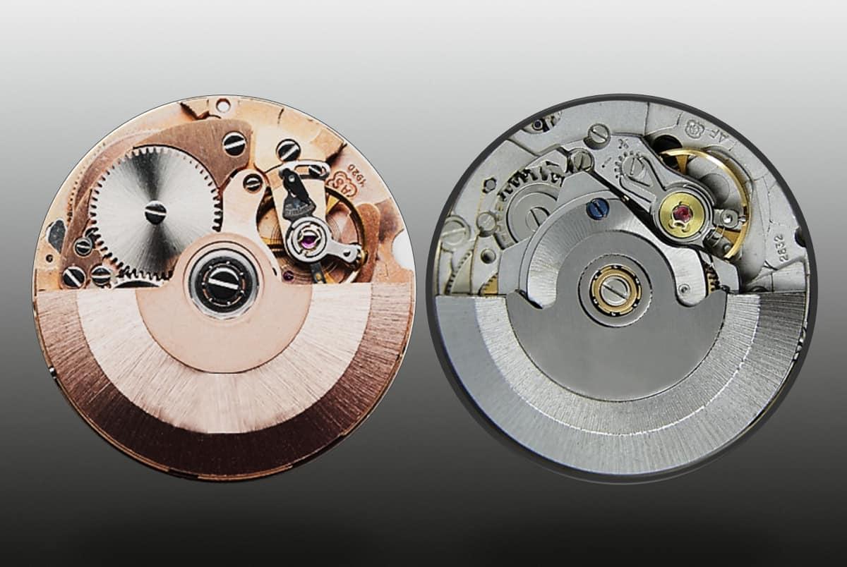 Hochfrequenz-Konkurrenten Uhrwerk AS 1920 (1969) und Eta 2832 (1971)