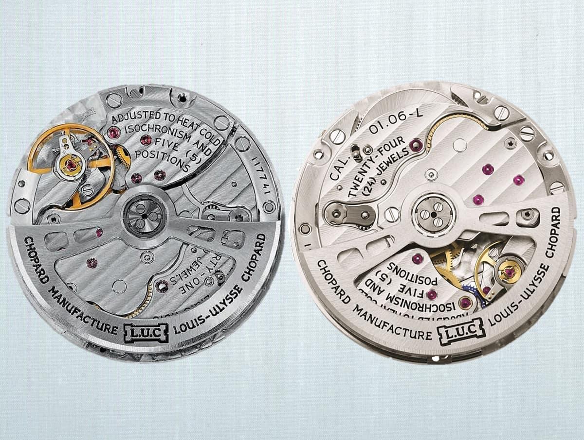 Die beiden Uhrwerke L.U. Chopard Automatikkaliber 01.01-L und 01.06-L