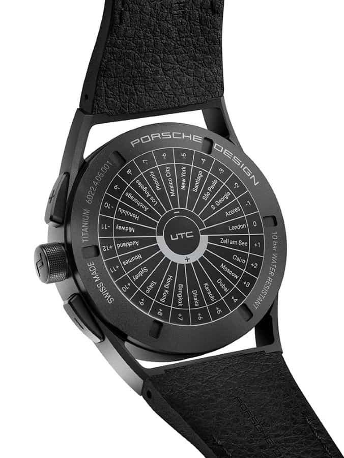 Porsche Design 1919 Globetimer UTC All Black Rückseite mit Zeitzonen