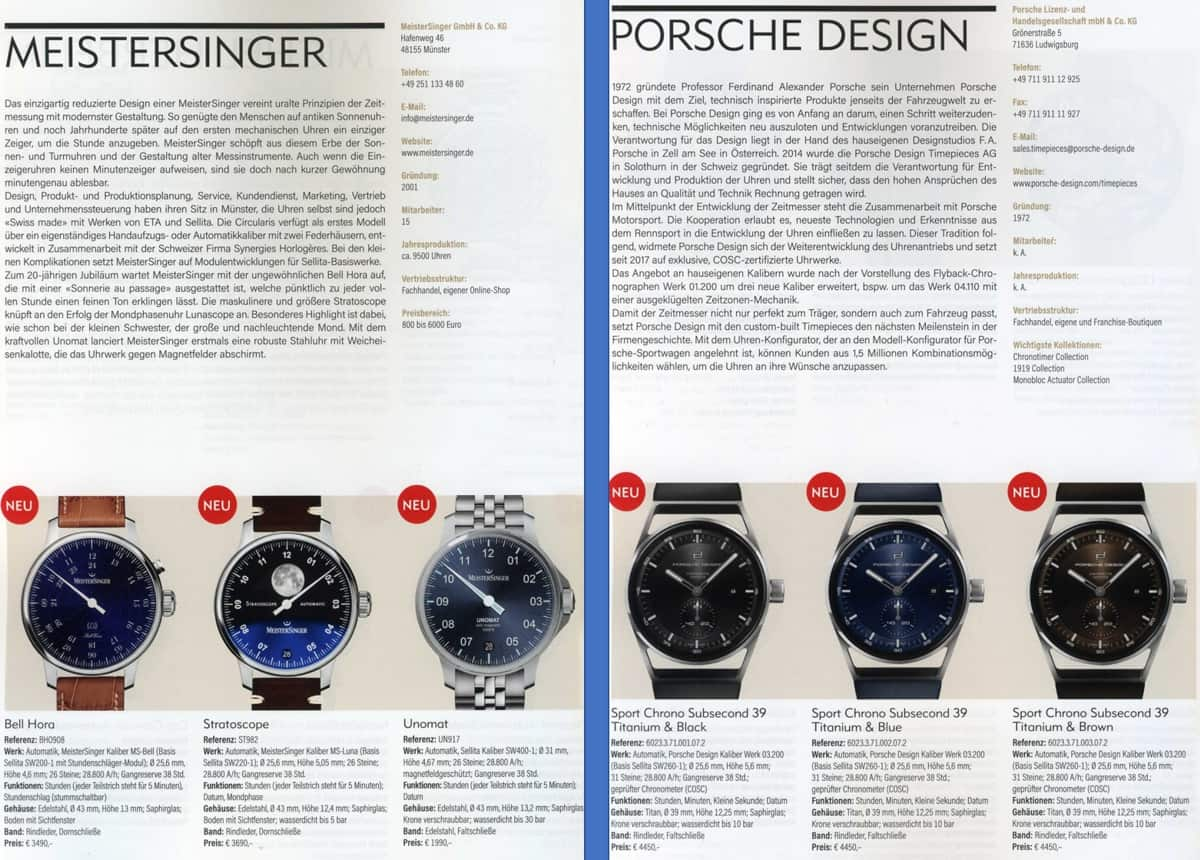 Armbanduhren Katalog 2021 2022 Meistersinger PorscheDesign