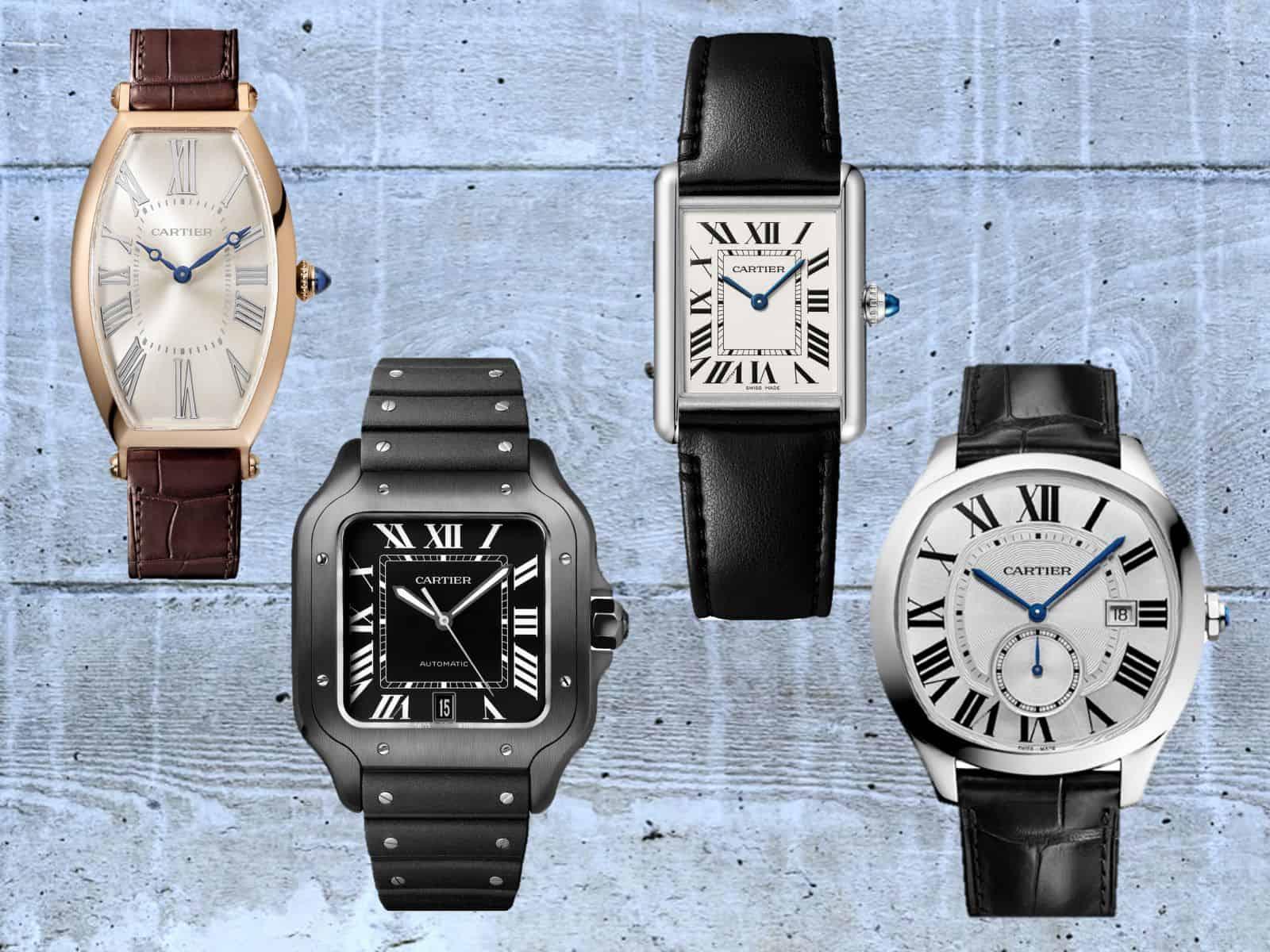 Cartier Uhren mit Formgehäuse in Kissen- und Tonneauform